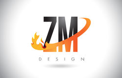 ZM Z M Letter Logo with Fire Flames Design and Orange Swoosh. ZM Z M Letter Logo Design with Fire Flames and Orange Swoosh Vector Illustration Royalty Free Stock Photography
