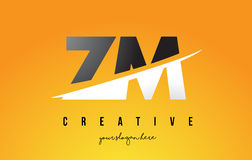 ZM Z M Letter Modern Logo Design with Yellow Background and Swoo Stock Image