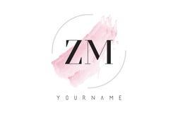 ZM Z M Watercolor Letter Logo Design con el modelo circular del cepillo Imágenes de archivo libres de regalías