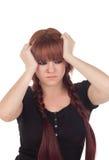 Zmartwiona nastoletnia dziewczyna ubierał w czerni z przebijaniem obraz stock