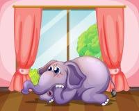 Zmartwiona twarz słoń wśrodku pokoju ilustracja wektor
