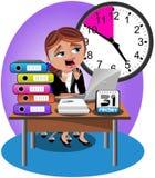 Zmartwiony bizneswomanu ostatecznego terminu biuro Zdjęcie Royalty Free