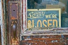 zmartwiony re zamknięty znak Obraz Stock