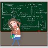 Zmartwiony studencki patrzeje chalkboard 3d ilustracji