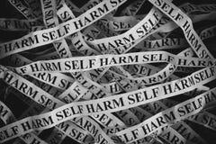 Zmięci papierów kawałki z słowo jaźni krzywda Obrazy Stock