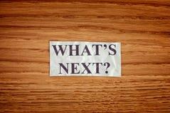 Zmięta papier notatka z pytaniem Co jest następny zdjęcie royalty free