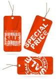 zmiętej papierowej czerwonej sprzedaży ustalone etykietki Zdjęcia Stock