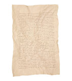 Zmięty brown notatnik linii papier Odizolowywający na bielu zdjęcie stock