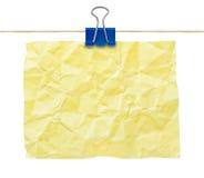 zmięty nutowego papieru kolor żółty Obraz Royalty Free