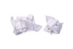 zmięty odosobniony papierowy biel Zdjęcia Stock