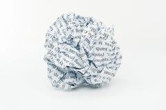 Zmięty papier. Zdjęcie Stock
