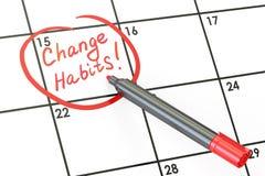 Zmian przyzwyczajenia! Data na kalendarzowym pojęciu, 3D rendering Obraz Stock