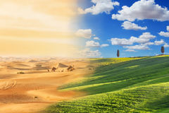 Zmiana klimatu z pustynnienie procesem fotografia stock