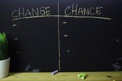 Zmiana lub szansa pisać z kolor kredy pojęciem na blackboard fotografia royalty free