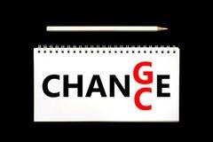 Zmiany i szansy słowa w notepad - jaźni ulepszenia motywacja zdjęcia stock