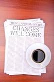 zmiany przychodząca gazeta fotografia stock