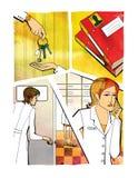 zmiany rz?d?w Kobiety r?ka stawia klucze w r?ce inna kobieta Kobieta otwiera drzwi kobieta pensively trzyma a ilustracja wektor