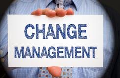 Zmiany zarządzanie - kierownika mienia znak z tekstem obrazy stock