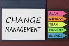Zmiany zarządzanie pisać na notatnika pojęciu obraz stock