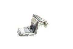 Zmięci 100 dolarowy rachunek Obraz Stock