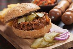 Zmielona wołowina hamburgeru kanapka Zdjęcia Stock
