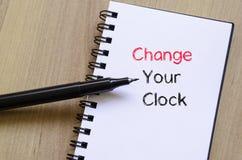 Zmienia twój zegarowego teksta pojęcie na notatniku Zdjęcia Royalty Free