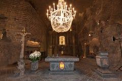 Zmienia w St Kinga kaplicie wśrodku Wielickiej solankowej kopalni w Polska Obrazy Stock