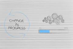 Zmienia w toku gearwheel mechanizm z postępu barem obok obraz royalty free