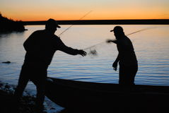 Zmierzchów rybacy Obrazy Royalty Free