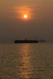 Zmierzch łódź Fotografia Royalty Free