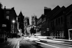 Zmierzch środkowy Jork, UK, z Jork ministra katedrą na plecy czarny white Fotografia Stock