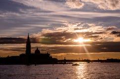 Zmierzch Basen San Marco w Wenecja, Włochy Obrazy Stock