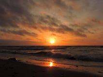 Zmierzch blisko morza bałtyckiego, Lithuania Fotografia Stock
