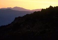 Zmierzch blisko Towne przepustki, Śmiertelny Dolinny park narodowy, Kalifornia Obrazy Stock