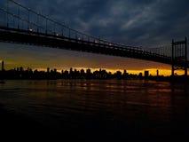 Zmierzch Bridżowy Astoria Nowy Jork Zdjęcia Royalty Free