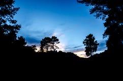 Zmierzch, drzewa, góry, sposób Poço Azul, park narodowy Pe Obraz Stock