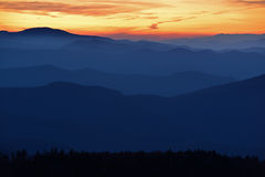 Zmierzch, Great Smoky Mountains Fotografia Stock