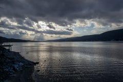 Zmierzch Greenwood jeziorem (NY) fotografia royalty free