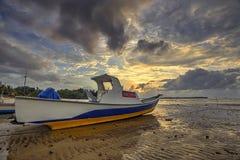 Zmierzch I łódź Zdjęcia Royalty Free