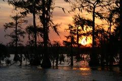 Zmierzch jeziora oknówka zdjęcie royalty free