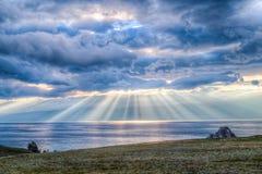 Zmierzch, Jeziorny Baikal Obrazy Stock
