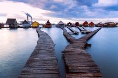 Zmierzch jezioro Bokod Zdjęcie Stock