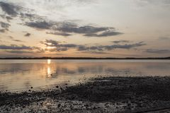 Zmierzch Limafjord, Lundo, Jutland, Dani Zdjęcie Stock