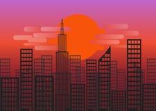 Zmierzch lub wschód słońca miasta linia horyzontu royalty ilustracja