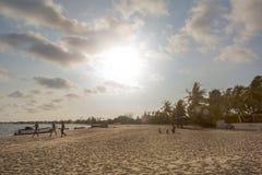 Zmierzch na afrykańskiej tropikalnej wyspie mussulo Angola Obrazy Royalty Free