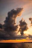 Zmierzch na amazonki rzece z chmurami Zdjęcie Royalty Free
