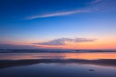 Zmierzch na Baga plaży. Goa Zdjęcie Stock
