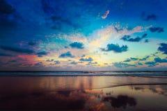 Zmierzch na Baga plaży. Goa Obrazy Royalty Free