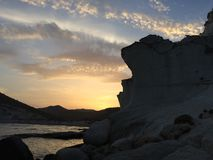 Zmierzch na fossilized diuny plaży zdjęcia royalty free