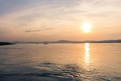 Zmierzch na Irrawaddy rzece zdjęcia stock
